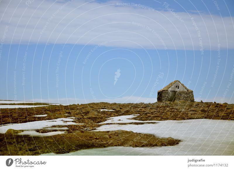 Island Umwelt Natur Landschaft Himmel Menschenleer Haus Hütte Gebäude Mauer Wand klein natürlich Schutz Häusliches Leben Schutzhütte Farbfoto Außenaufnahme