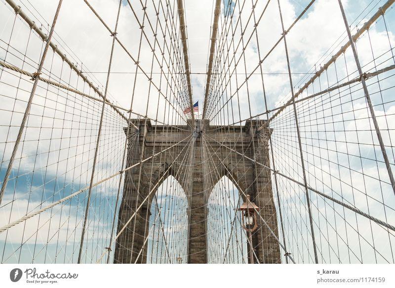 Brooklyn Bridge Ferien & Urlaub & Reisen Stadt blau Ferne Straße Architektur Freiheit braun Erde Freizeit & Hobby Tourismus modern Beton Kultur Brücke Seil