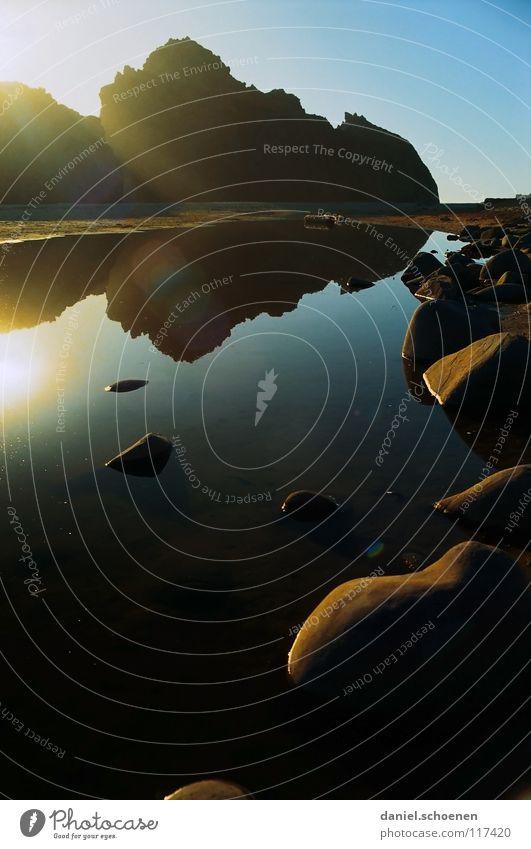 Big Sur Küste Meer Klippe Kalifornien Sonnenstrahlen Licht Reflexion & Spiegelung gelb zyan Ferien & Urlaub & Reisen Hintergrundbild Strand Sonnenuntergang USA
