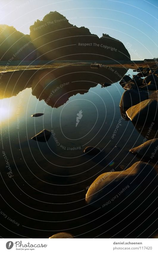 Big Sur Wasser Himmel Sonne Meer blau Strand Ferien & Urlaub & Reisen gelb Lampe Küste Hintergrundbild Felsen USA Schönes Wetter zyan Klippe