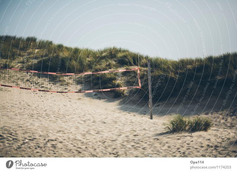 Beach Volleyball Umwelt Natur Landschaft Pflanze Tier Sonne Sommer Schönes Wetter Küste Strand Bucht Nordsee Insel Sand Holz Spielen Glück Unendlichkeit blau