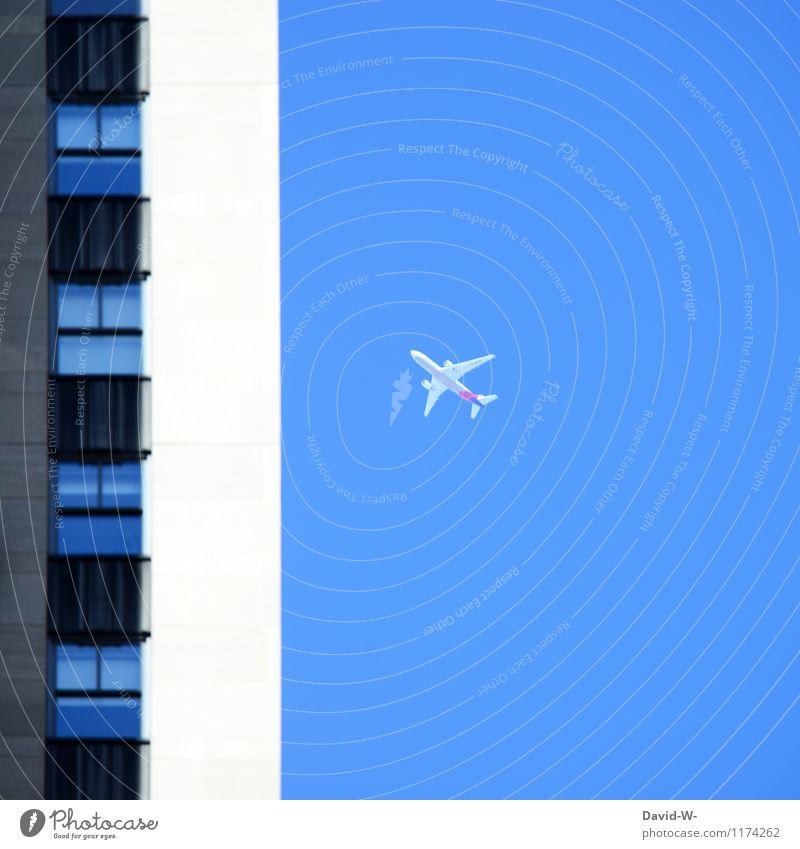 Fernweh Urlaubsreif Ferien & Urlaub & Reisen Stadt Ferne Leben Gebäude Freiheit fliegen Stimmung Business Tourismus Luftverkehr Hochhaus Ausflug Flugzeug