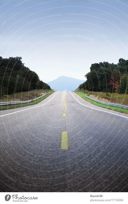 the road to... Ferien & Urlaub & Reisen Ausflug Ferne Sommerurlaub Berge u. Gebirge Umwelt Natur Landschaft Wolkenloser Himmel Schönes Wetter Verkehrswege