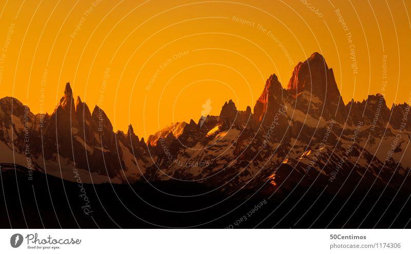 a Sunset over fitz roy and torres del paine Natur Ferien & Urlaub & Reisen schön Landschaft ruhig Ferne Winter Berge u. Gebirge Umwelt Schnee Freiheit Tourismus