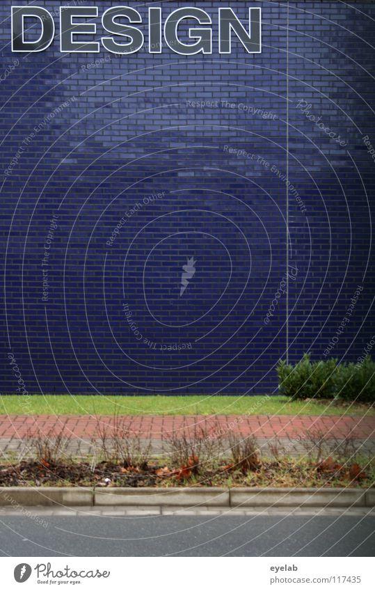 DESIGN (für die, die es als solches nicht erkannt hätten) blau Pflanze Haus Leben Wand Garten grau Mauer Gebäude Kunst glänzend Design Schilder & Markierungen