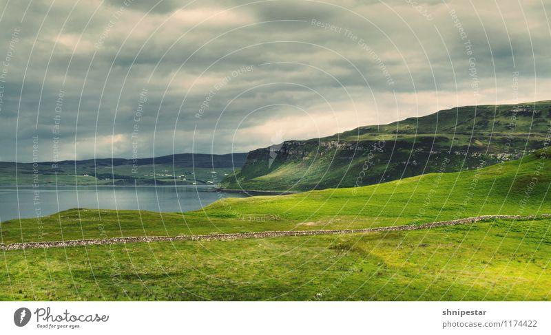 Coral Beach | Isle of Skye Natur Ferien & Urlaub & Reisen Sommer Erholung Meer Landschaft Wolken Ferne Strand Umwelt Berge u. Gebirge Gras Küste Wetter