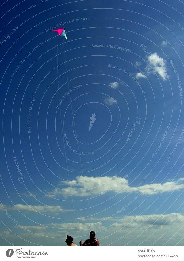 Drachen Wolken Strand Luftverkehr Himmel Mensch blau Wind Dänemark