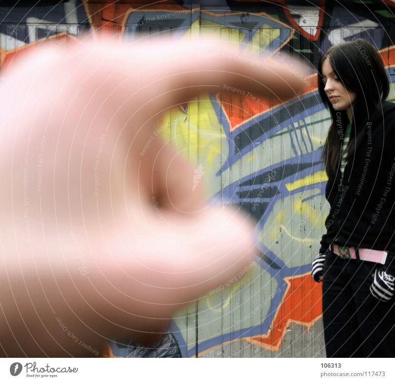 THIS IS WAT I MEAN! [KOFA08DD] Mensch Frau Farbe rot schwarz kalt Wand Graffiti feminin Spielen Vogel dreckig stehen warten Finger Nase