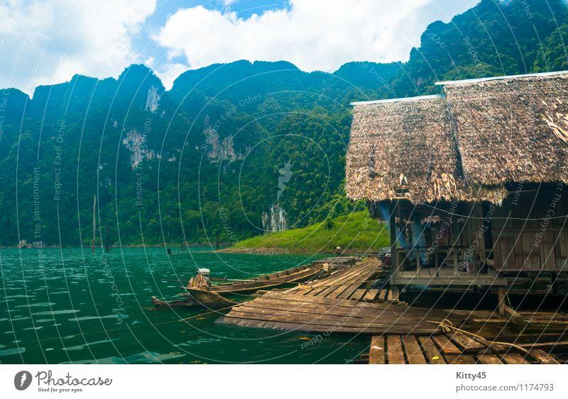 Lakeside Hütten und Berge Himmel Natur Ferien & Urlaub & Reisen Pflanze grün Farbe Sommer Sonne Baum Blatt Landschaft Wolken Wald Berge u. Gebirge natürlich See