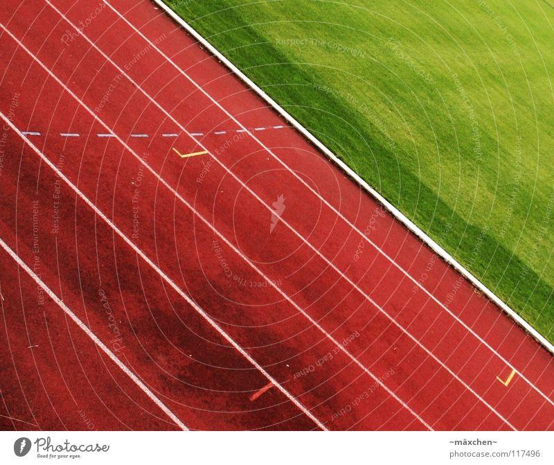 3...2...1...los! *peng* Wo sind denn alle hin? Rennbahn Stadion Leichtathletik rot grün weiß Spuren Kurvenlage 100 Meter Lauf Joggen Ausdauer Niederlage Prämie