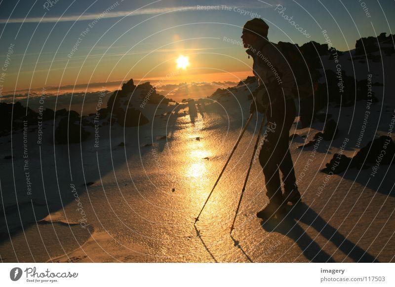 Sonnenaufgang am Teide_Teil 2 Schnee Berge u. Gebirge Zufriedenheit Erfolg Gelassenheit Stock Bergsteigen Wintersport Klettern Teneriffa Teide Eisfeld