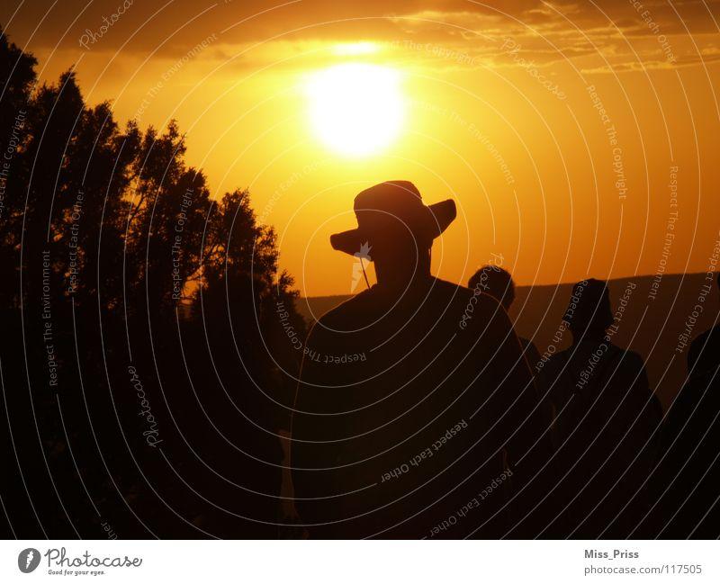 Der Sonne entgegen Sonnenuntergang Sonnenaufgang Cowboy Grand Canyon Romantik Amerika USA Schatten Weste ruhig Abend Himmel Mensch