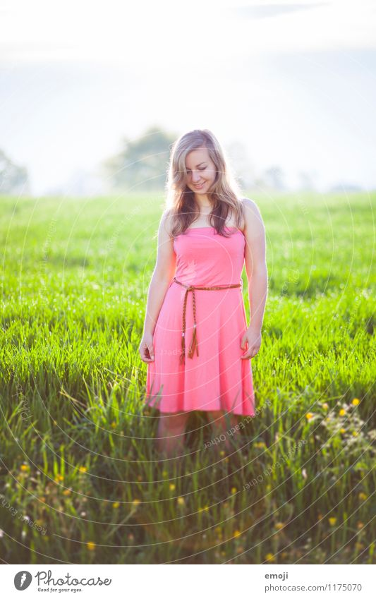 grapefruit feminin Junge Frau Jugendliche 1 Mensch 18-30 Jahre Erwachsene Umwelt Natur Landschaft Frühling Sommer Schönes Wetter Wiese Kleid Fröhlichkeit Glück
