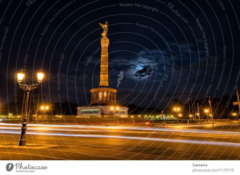 Siegessäule Stadt Hauptstadt Menschenleer Platz Turm Denkmal Sehenswürdigkeit Wahrzeichen Straße Straßenkreuzung Denken entdecken Erholung fahren laufen