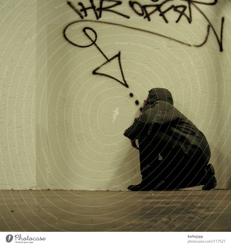 opferrolle Mensch Mann Jugendliche blau Hand weiß rot Freude ruhig kalt Graffiti Wand sprechen Gefühle Mauer lustig