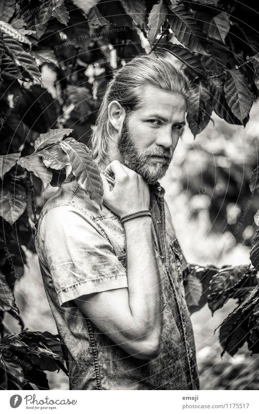 man maskulin Junger Mann Jugendliche 1 Mensch 18-30 Jahre Erwachsene Umwelt Natur Pflanze Baum Sträucher Bart schön natürlich Schwarzweißfoto Außenaufnahme Tag