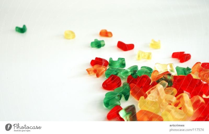 lecker sans grün Freude gelb Farbe orange lustig Schriftzeichen Buchstaben Bildung unten Typographie Süßwaren Gummi Haufen Gummibärchen unruhig