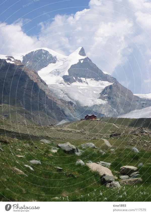 Swiss Alps schön Himmel grün Wolken Schnee Gras Berge u. Gebirge Freiheit Stein Landschaft wandern groß hoch Europa Macht Freizeit & Hobby