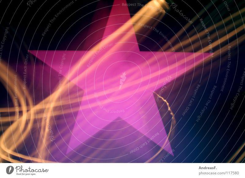 *Stern* Stern (Symbol) Licht Leuchtspur rosa Nacht Neonlicht Leuchtreklame Symbole & Metaphern Rauschmittel Disco Party Alkoholisiert Techno mehrfarbig Freude