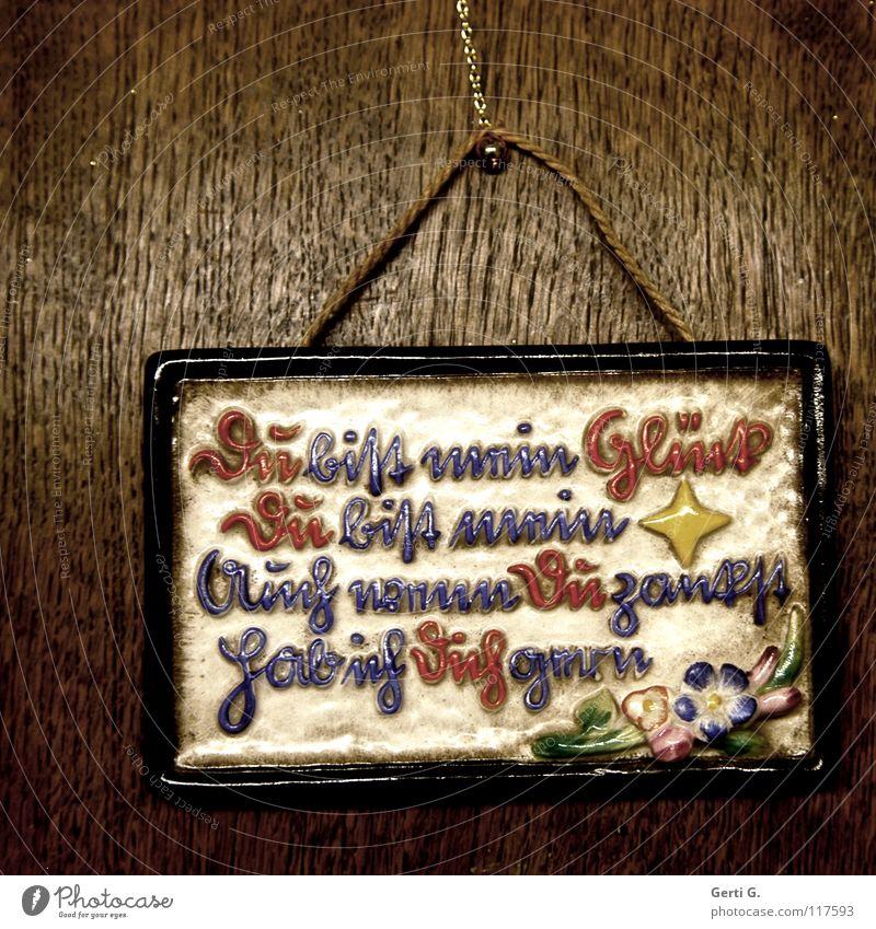 DU.... Haken Wort mehrfarbig Holz Typographie Redewendung Keramik Tischplatte Rechteck Blume braun rot gelb Zufriedenheit Dekoration & Verzierung