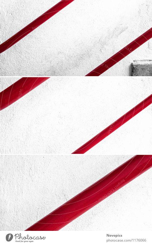 study banister II weiß rot Wand Architektur Mauer Treppe Treppengeländer klassisch Bauhaus Collage Dessau