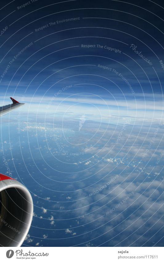 freiheit Himmel weiß blau rot Ferien & Urlaub & Reisen Wolken Ferne Freiheit Luft Flugzeug Wetter fliegen Horizont Luftverkehr Unendlichkeit