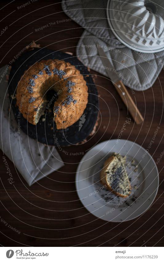 sonntags dunkel Ernährung süß lecker Süßwaren Kuchen Dessert Kaffeetrinken Gugelhupf