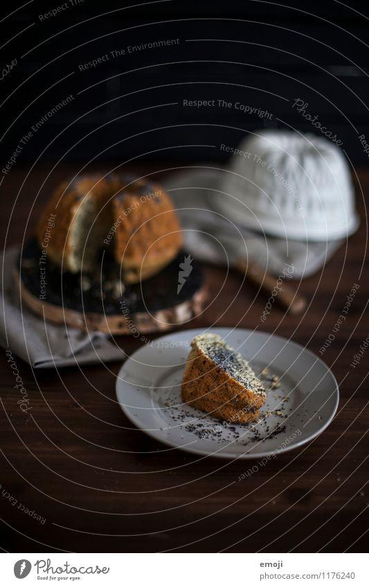 Stück Kuchen dunkel Ernährung süß lecker Süßwaren Duft Geschirr Dessert Slowfood Gugelhupf