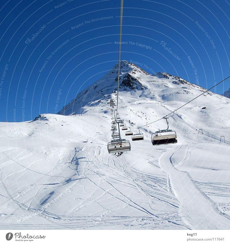 Schweben Gletscher Österreich weiß Winter Snowboard Wintersport Ferien & Urlaub & Reisen Sport St. Jakob Seilbahn Sesselbahn Berge u. Gebirge Eis Schnee Klima