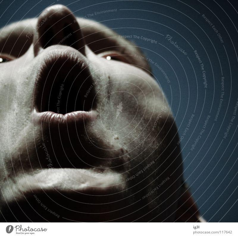 Theme from Undefined Information Mensch ruhig Gesicht dunkel Tod Leben Gefühle Kopf geschlossen Mund Nase trist Ecke Kommunizieren Lippen berühren
