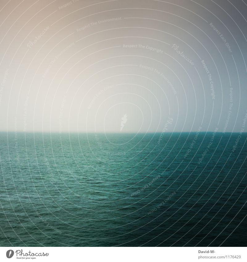 Licht & Schatten Umwelt Natur Urelemente Wasser Himmel Wolkenloser Himmel Schönes Wetter Wellen Nordsee Ostsee Meer leuchten türkis blau grün ruhig tief Ferne