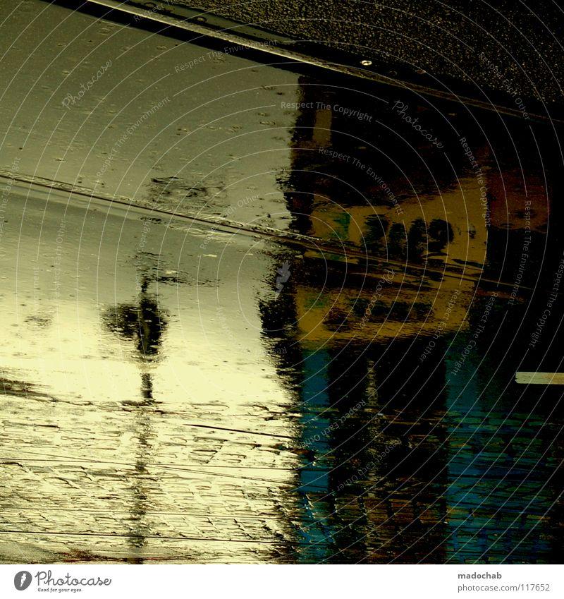 THIS GAME IS CALLED SURVIVING Stadt Haus Straße Gebäude träumen Regen Wetter nass Verkehr Wassertropfen Hochhaus Trauer Vergänglichkeit Gleise feucht