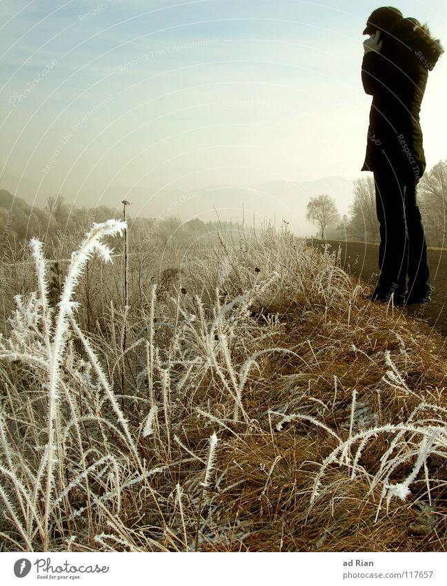 Ich wollte nur kurz Hallo sagen... Frau Mensch Himmel Natur Jugendliche Winter Einsamkeit Erwachsene Ferne Wiese kalt Schnee Glück Traurigkeit Freundschaft Eis