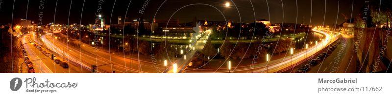 Saarbrücken bei Nacht Stadt Leben Deutschland Brücke Fluss Autobahn Verkehrswege Panorama (Bildformat) HDR Vollmond Saarland