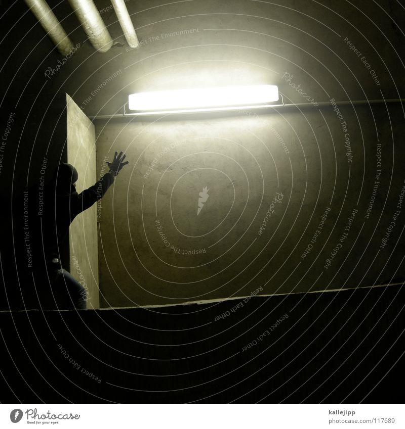 into the light Mensch Himmel Mann Hand Haus Berge u. Gebirge Gefühle Architektur springen See Luft Lampe Fassade Freizeit & Hobby fliegen hoch