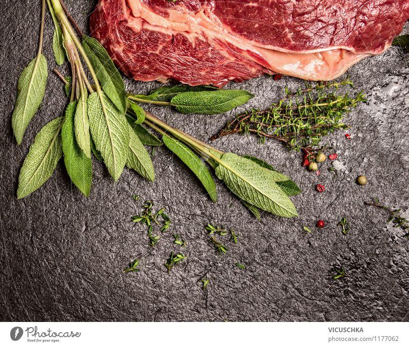 Rindfleisch mit Salbei und Thymian Gesunde Ernährung Stil Hintergrundbild Foodfotografie Lebensmittel Design Tisch Kochen & Garen & Backen einfach