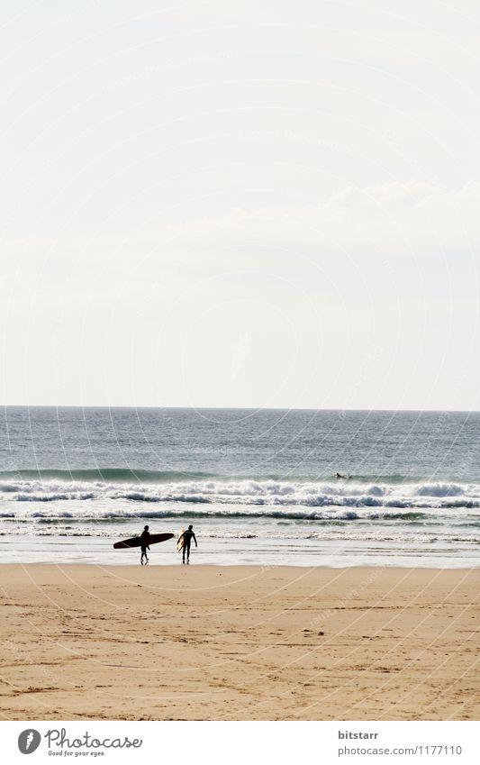 Surfin UK Natur Ferien & Urlaub & Reisen blau Sommer weiß Erholung Meer Strand Sport klein Freiheit Schwimmen & Baden Lifestyle braun Sand Horizont