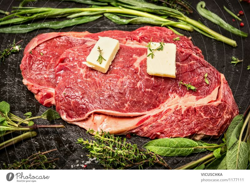 Rindfleisch mit Butter und frische Kräuter Stil Lebensmittel Design Ernährung Kochen & Garen & Backen einfach Kräuter & Gewürze Küche Bioprodukte Restaurant