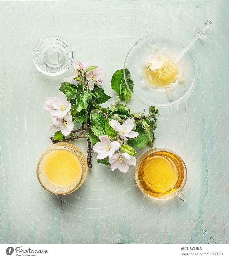 Honig mit frischen Obstbaumblüten Natur Sommer Baum Blatt Leben Frühling Blüte Stil Lebensmittel Design Glas Ernährung Getränk Süßwaren Duft Bioprodukte