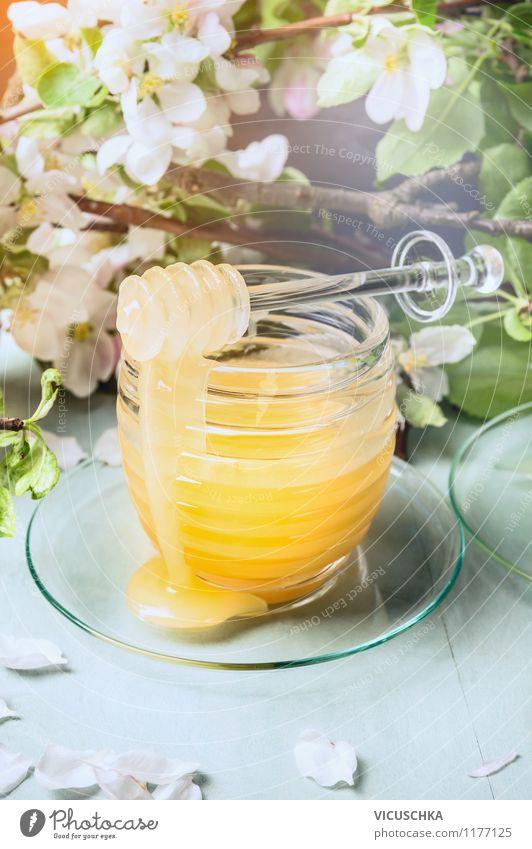 Frühlingshonig mit frischen Obstbaumblüten. Sommer Gesunde Ernährung Leben Blüte Stil Foodfotografie Lebensmittel hell Design Glas Tisch Süßwaren Bioprodukte