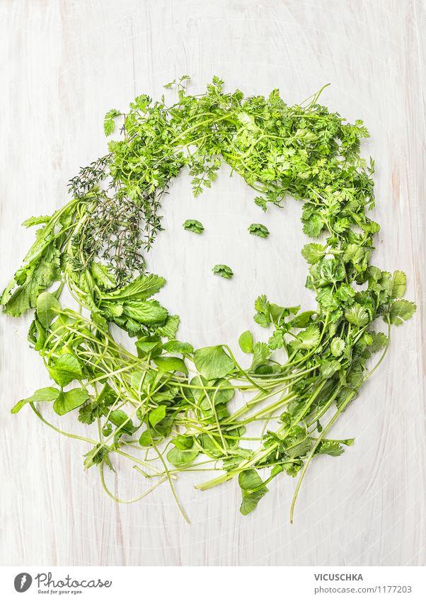 Frauengesicht aus frischen Kräutern Lebensmittel Salat Salatbeilage Kräuter & Gewürze Ernährung Bioprodukte Vegetarische Ernährung Diät Design Mensch Erwachsene