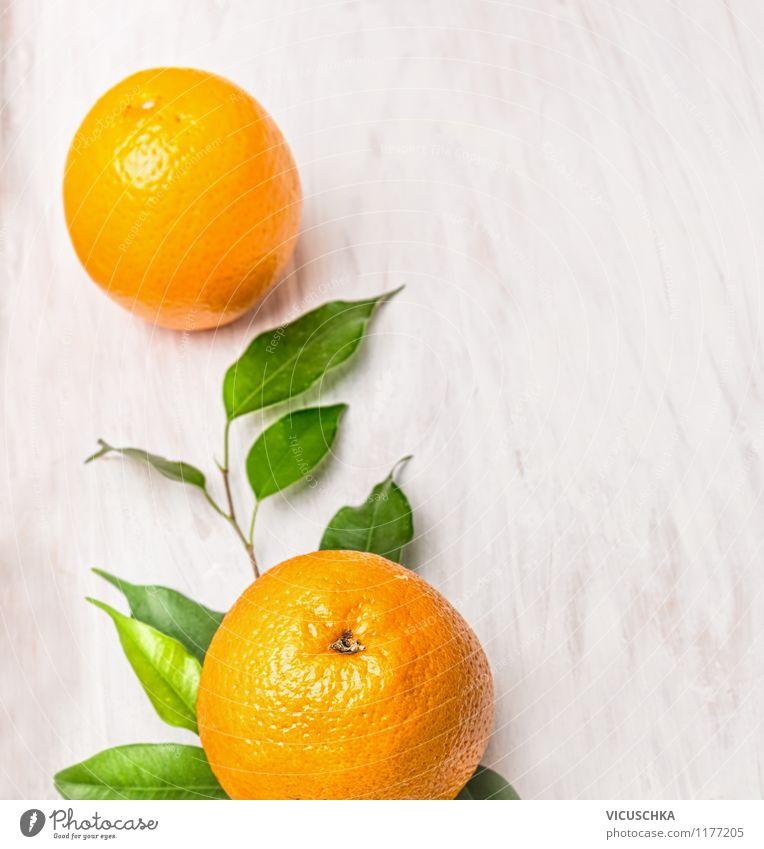 Frische Orangen auf Zweig mit Blätter Natur Sommer Gesunde Ernährung Blatt Leben Essen Foodfotografie Stil Hintergrundbild Lebensmittel Design Frucht frisch Ernährung Orange Zweig