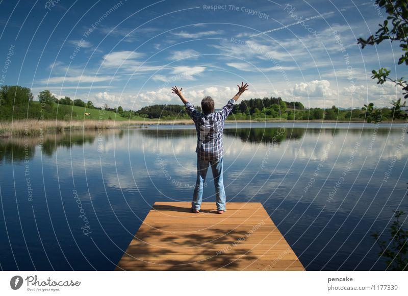 liebe dein land Mensch feminin androgyn Erwachsene 1 45-60 Jahre Natur Landschaft Urelemente Wasser Himmel Wolken Sommer Schönes Wetter Alpen Seeufer Stimmung