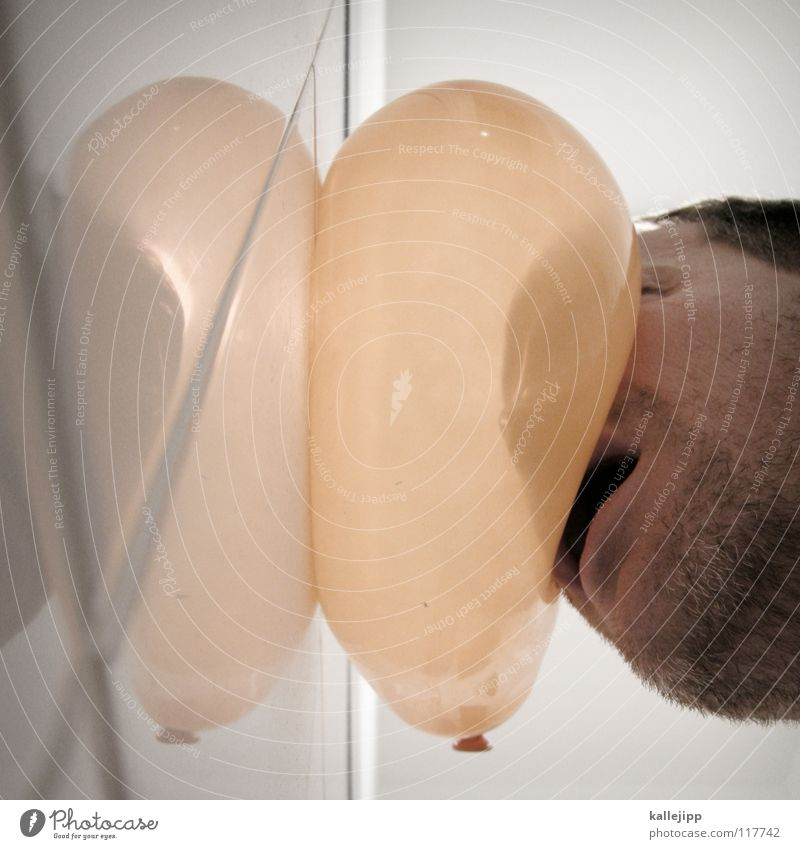 luftiKUSS Mann Airbag Knautschzone Ladung Kopfschmerzen Bewusstseinsstörung Rausch Gedanke Rauschmittel Finger Hand Daumen Zeigefinger Beule Luftballon Gummi