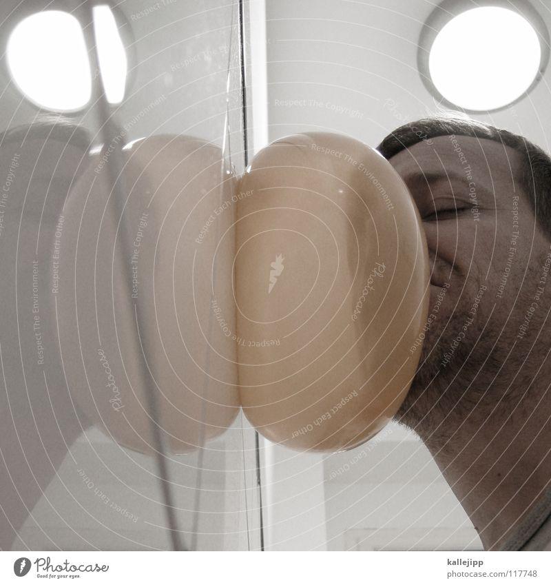 gedankenBLASEN Mann Airbag Knautschzone Ladung Kopfschmerzen Bewusstseinsstörung Rausch Gedanke Rauschmittel Finger Hand Daumen Zeigefinger Beule Luftballon
