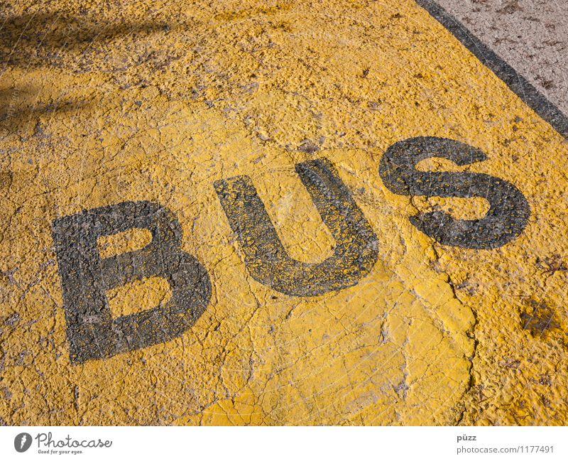BUS Stadt schwarz gelb Straße Stein Schilder & Markierungen Verkehr Schriftzeichen Hinweisschild Zeichen Verkehrswege Personenverkehr Bus Verkehrsmittel