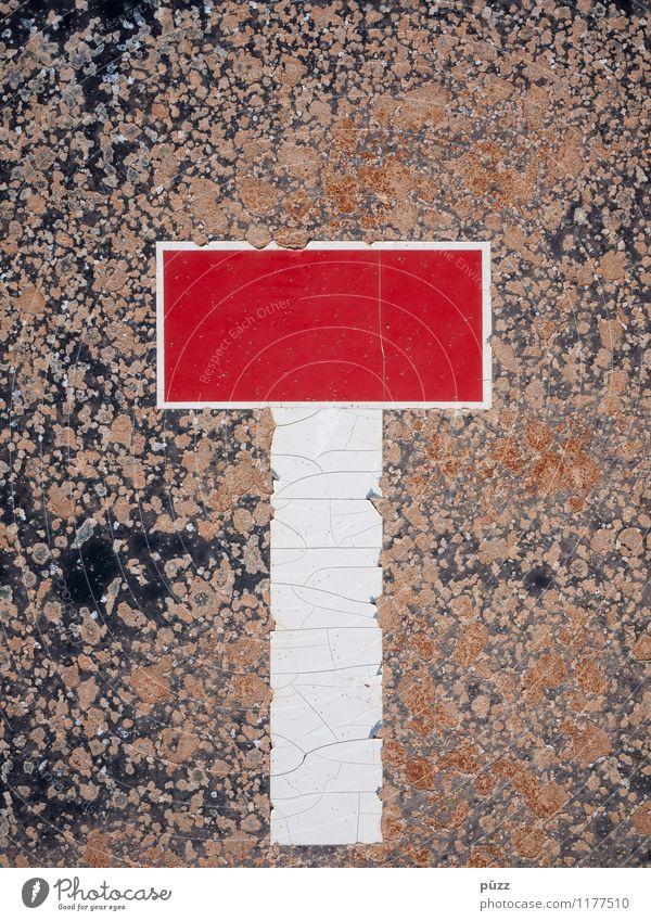 Sackgasse alt blau weiß rot Straße Gefühle braun Stimmung Metall dreckig PKW Schilder & Markierungen Verkehr Hinweisschild kaputt Zeichen