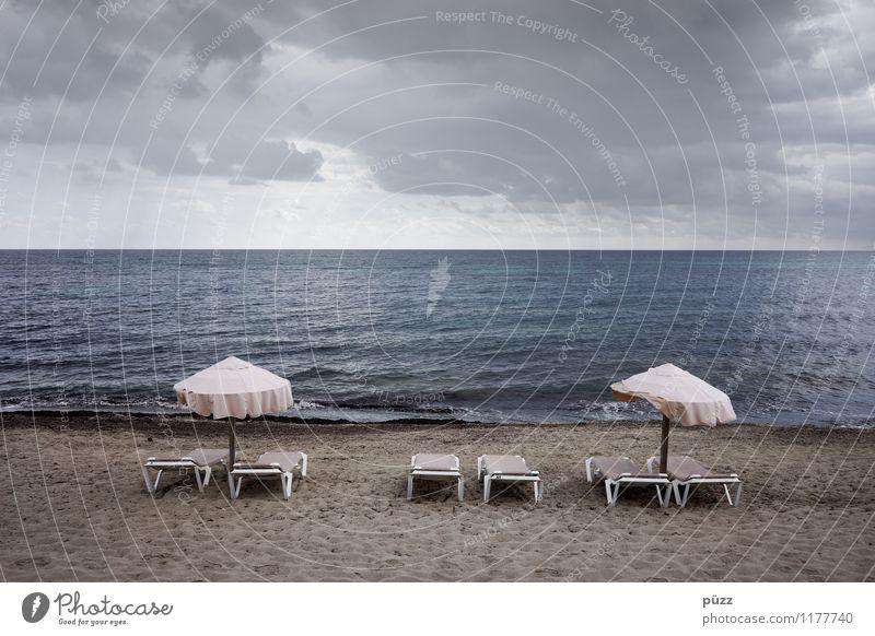 Feierabend Himmel Ferien & Urlaub & Reisen Sommer Wasser Erholung Meer Wolken Ferne Strand Küste Freiheit Schwimmen & Baden Sand Horizont Tourismus Wellen
