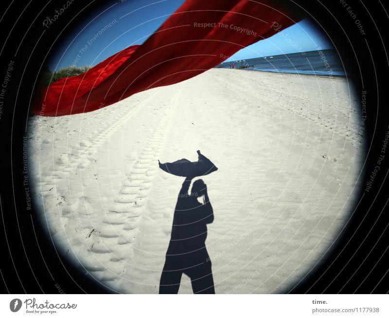 Sandmännchen Erholung Freude Ferne Strand Leben Bewegung Küste Wege & Pfade Zeit fliegen Horizont frisch stehen Perspektive genießen