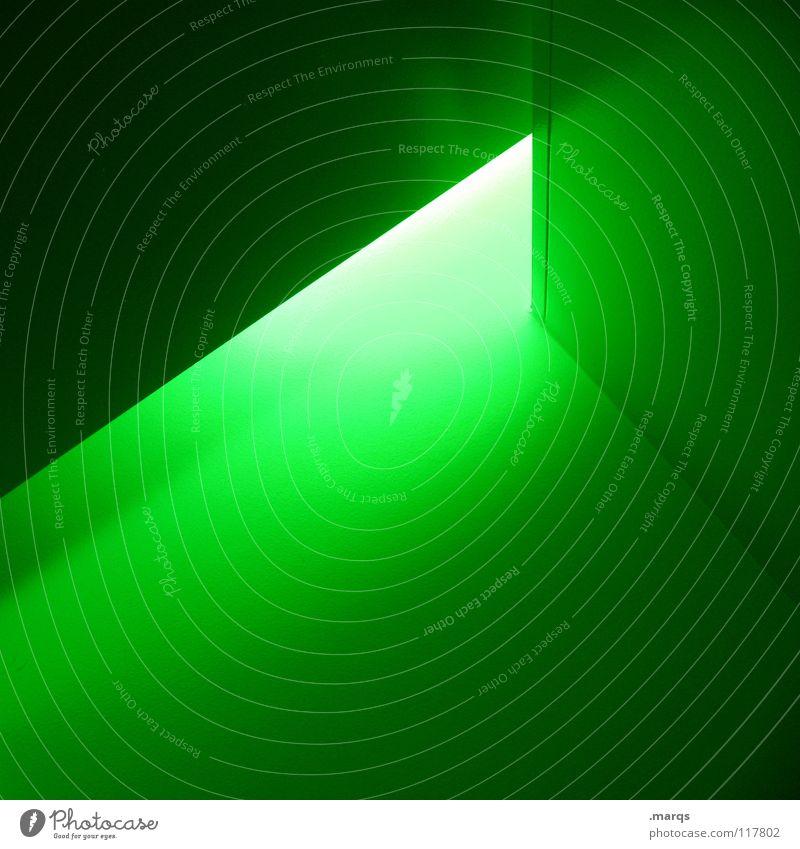 Grünstich grün Wand Linie hell Beleuchtung Angst Architektur Ecke Dinge Strahlung eng Geometrie Panik Gift Oberfläche blenden